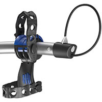 Isolated image of a Thule Archway Bike Carrier HoldFast bike cradle, anti-sway cage and cable lock