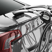 A Thule Gateway 2-Bike Carrier strapped to a trunk