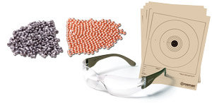 Shooting glasses, 5 paper targets, 100 Premium Copperhead BBs & 100 Pellets
