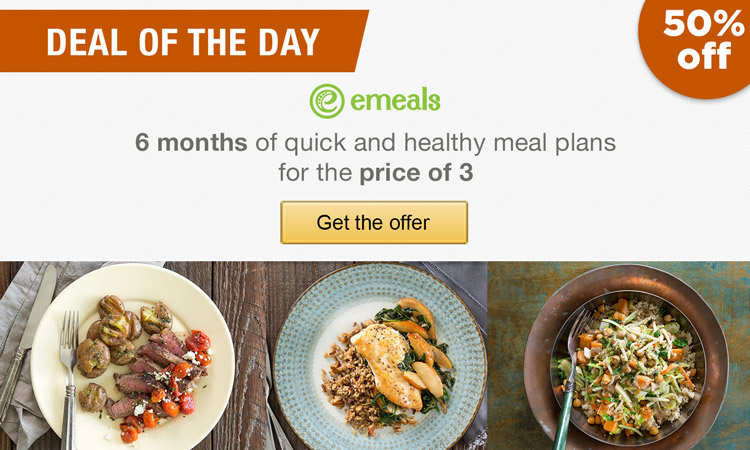 Deal of the Day: eMeals: 6 months of healthy meal plans for the price of 3. Get the offer