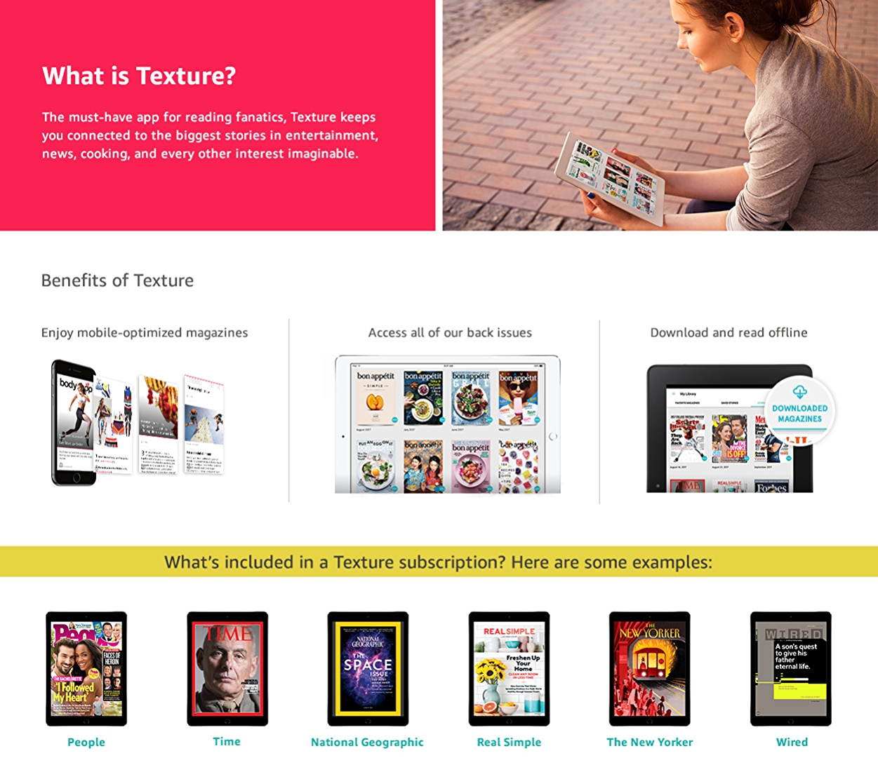 Texture is the app for endless relaxation. Kick back with the premier digital reading experience and have amazing content - from entertainment to news to cooking - anytime you want.