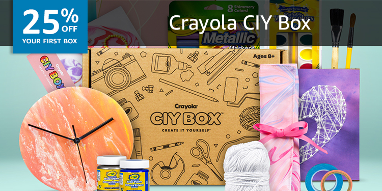 25% off your first box of Crayola CIY Box
