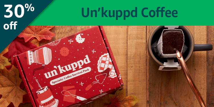 Black Friday Week: 30% off Un'kuppd Coffee: Specialty pour-over coffee delivered monthly