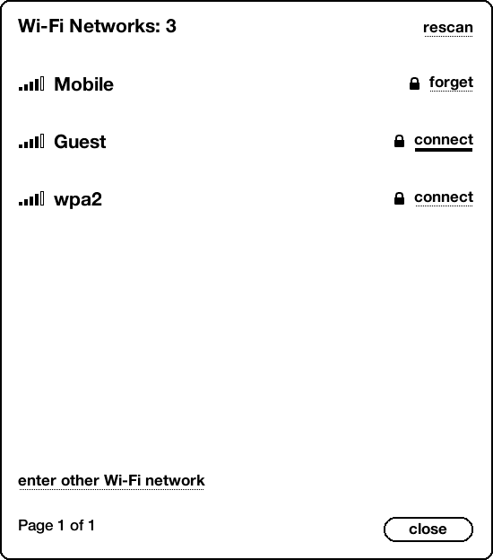 screenshot of wifi networks