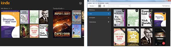 Kindle para Windows 8 a la izquierda