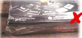 破損または包装不足の梱包(シュリンクラップやプラスチックのクラムシェル包装など)