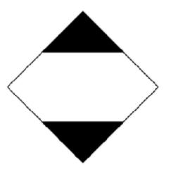 Panneau de signalisation pour le transport international de produits dangereux, en forme de losange blanc et noir