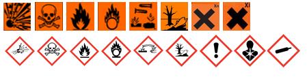 Symboles de substances dangereuses (explosion, tête de mort, feu, substances chimiques, etc.)