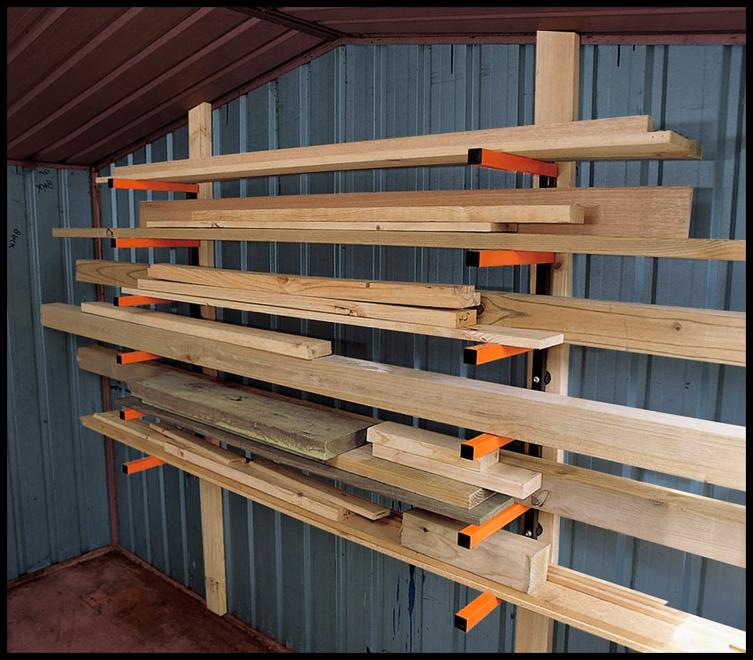 Lumber Storage Rack 6 Level Wall Mount Garage Organizer Indoor