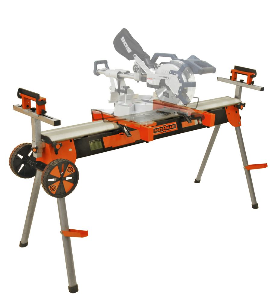 Folding Miter Saw Power Tool Stand With Wheels Light Vise And 4 Outlet 110v Power Strip Pro