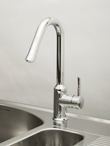 The American Standard Pekoe pull-down kitchen faucet will keep its finish throughout its lifetime