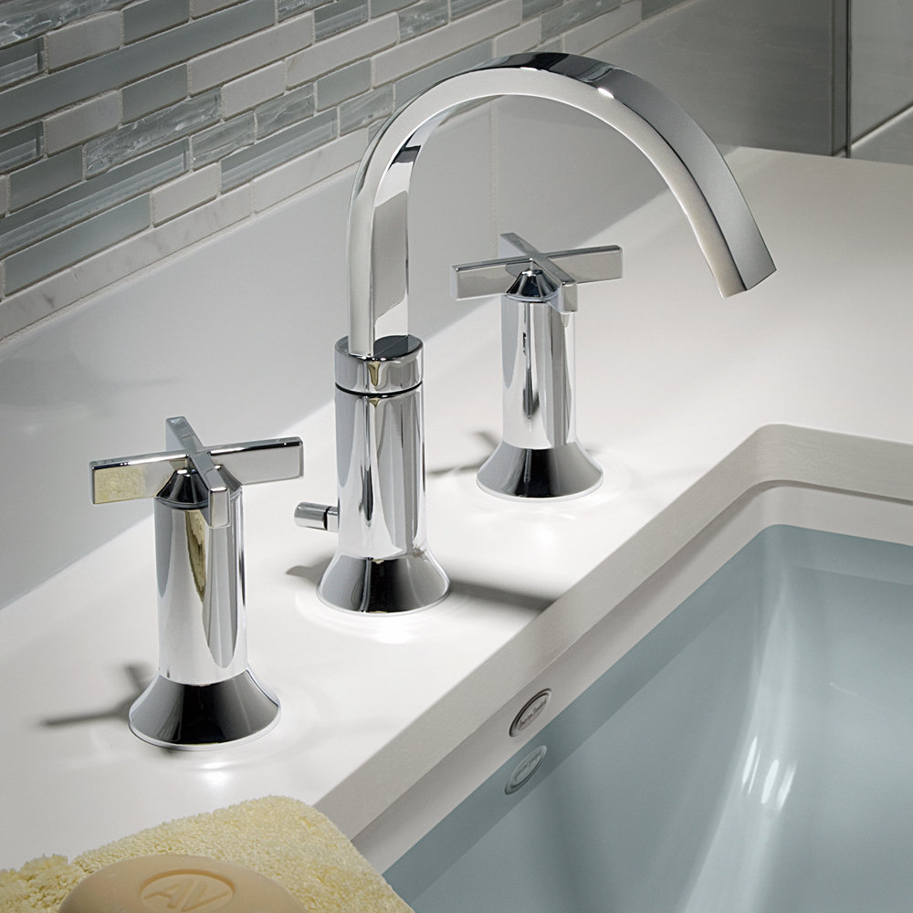 American Standard Berwick 2 Cross Handle Widespread Faucet Polished Chrome