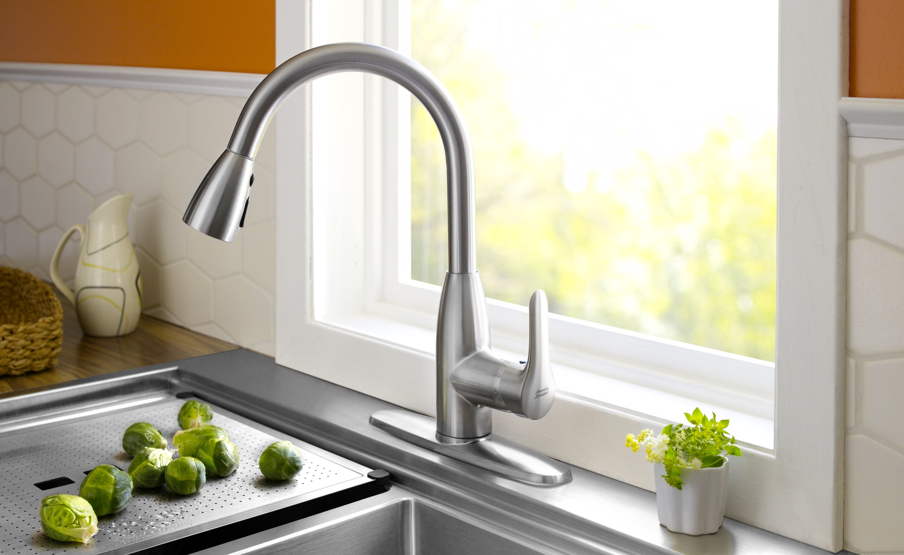 Marvelous A Stainless Steel Colony Faucet With A Kitchen Sink