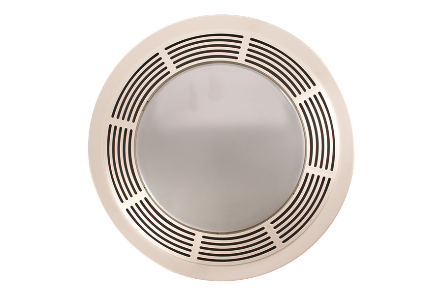 Broan 751 fan and light with round white grille and glass - Round bathroom exhaust fan with light ...