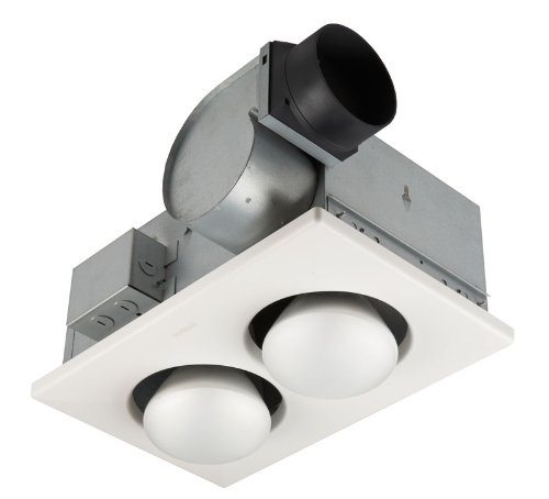 Broan 164 Type IC Infrared Two-Bulb Ceiling Heater With 4-Inch Round Duct Connector, 250 Watt
