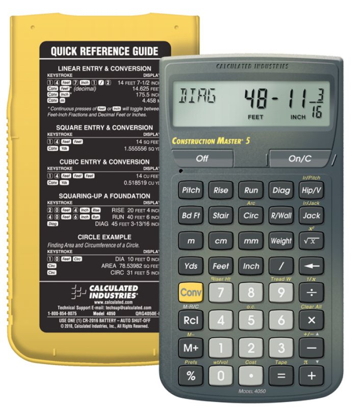 Calculated industries 4050 construction master for Home construction calculator
