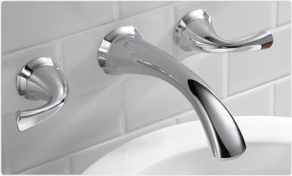 Delta 3592LF-WL Addison Two Handle Wall-Mount Bathroom Faucet ...