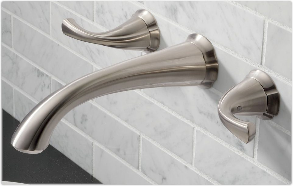 two handle wall mount faucet in stainless - Wall Mount Bathroom Faucet