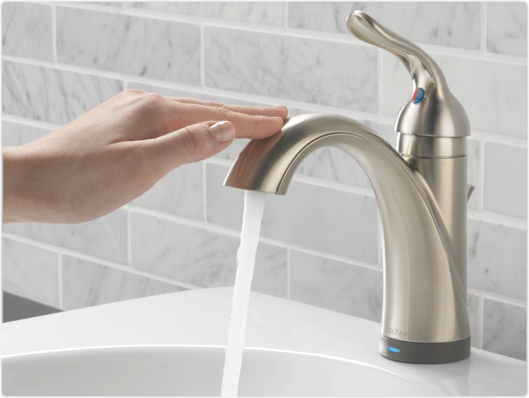 Delta 538T-SS-DST Lahara Single Handle Bathroom Faucet With Touch2O.xt Technology, Stainless