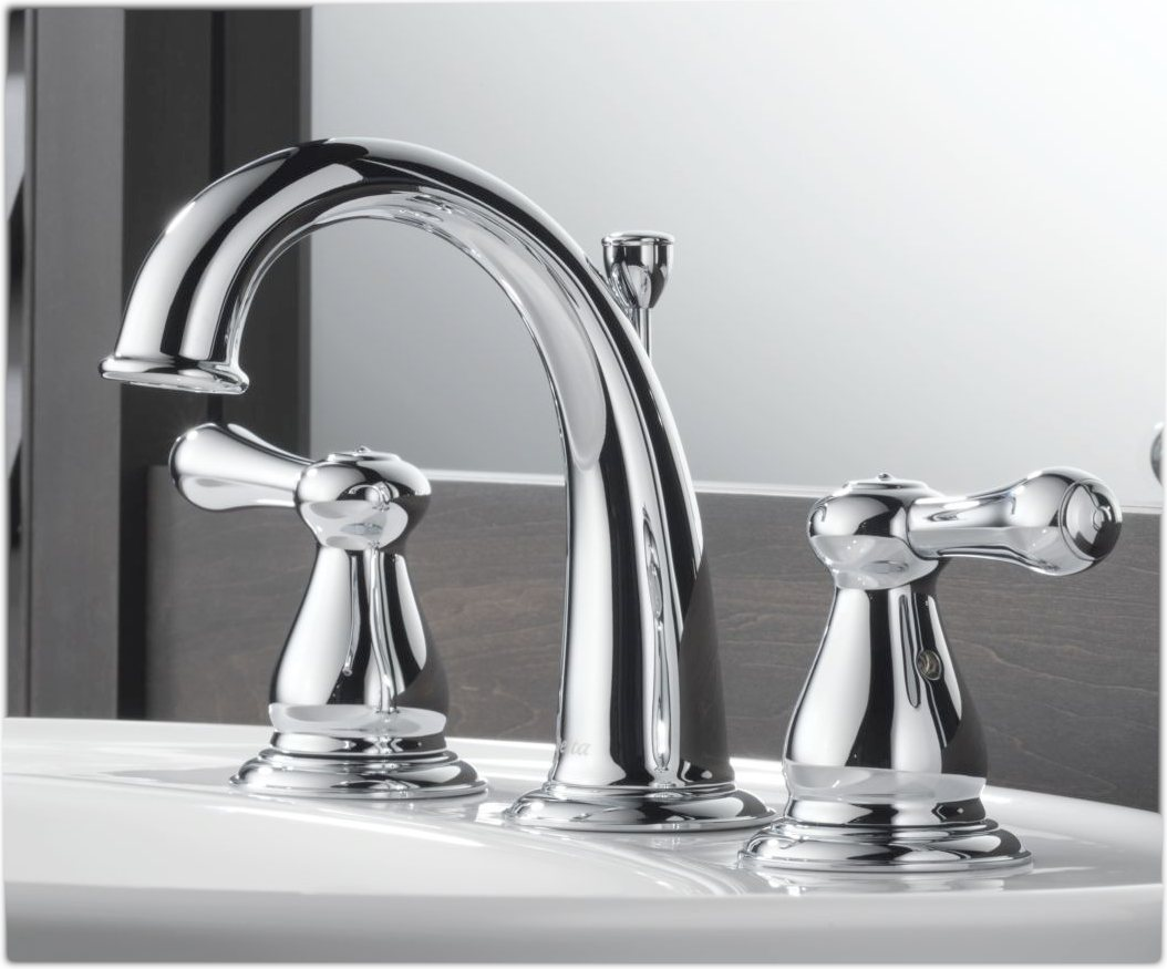 Elegant Delta Lahara Stainless 2Handle Widespread WaterSense Bathroom Faucet