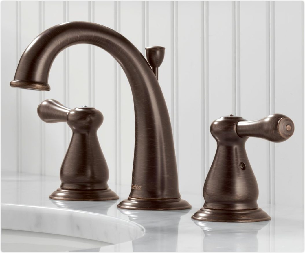 Delta 3575LF-RB Leland Two Handle Widespread Bathroom Faucet ...