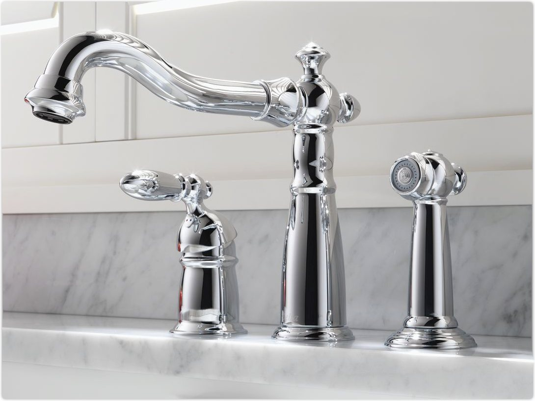 Delta 155-DST Victorian Single Handle Kitchen Faucet with Spray ...