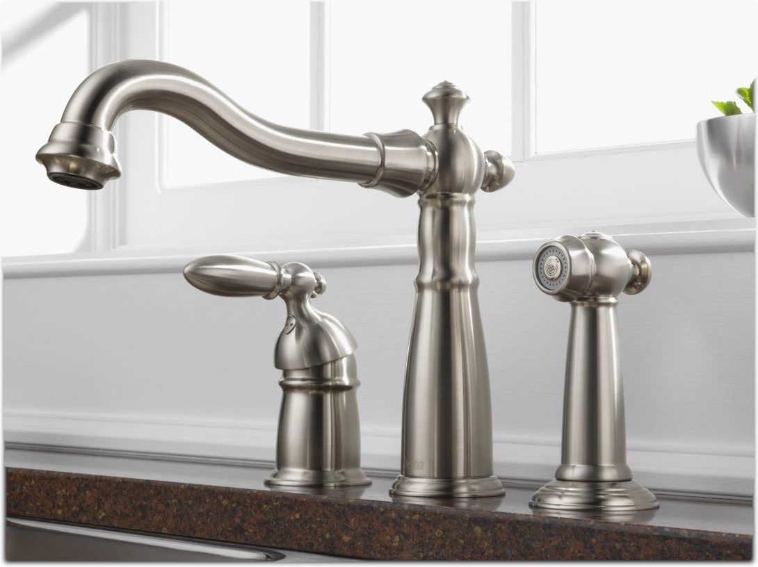 Victorian Single Kitchen Faucet With Sprayer In Stainless Steel