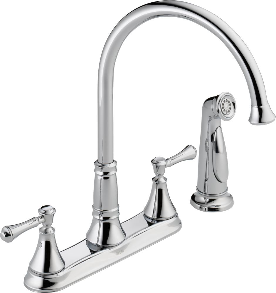 . Delta Faucet 2497LF AR Cassidy  Two Handle Kitchen Faucet with Spray   Arctic Stainless