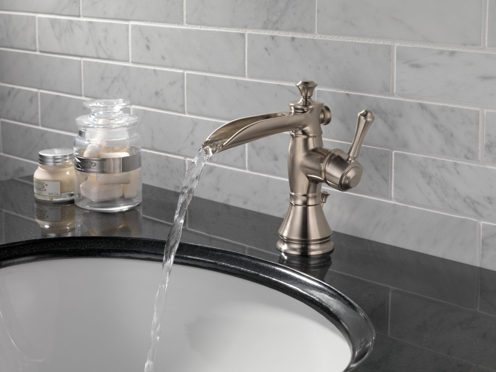 Delta Faucet LFRBMPU Cassidy Single Handle Single Hole Waterfall - Delta waterfall bathroom faucet