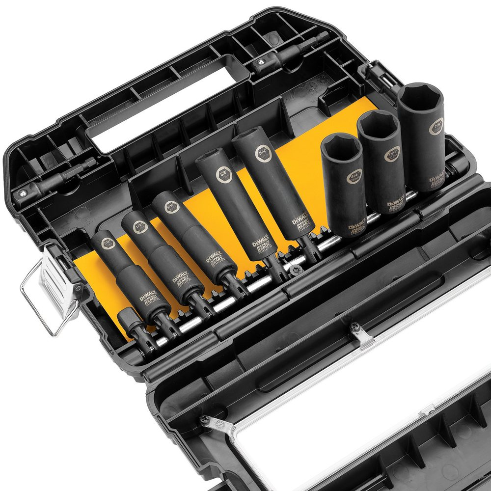 dewalt dw22812 1 2 inch 10 piece impact ready socket set screwdriver bit se. Black Bedroom Furniture Sets. Home Design Ideas