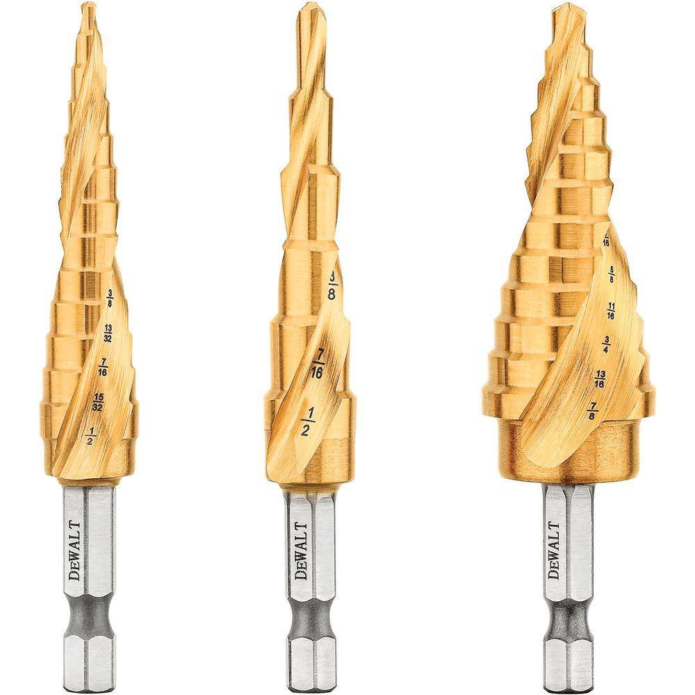 Step Drill Bit >> Dewalt Step Drill Bit Set 3 Piece Dwa1790ir