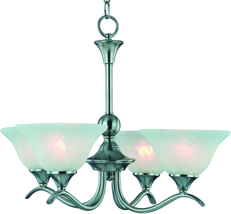 Nickel Dining Room Chandeliers: Chandelier 4 Light Brushed Nickel Finish Alabaster Glass