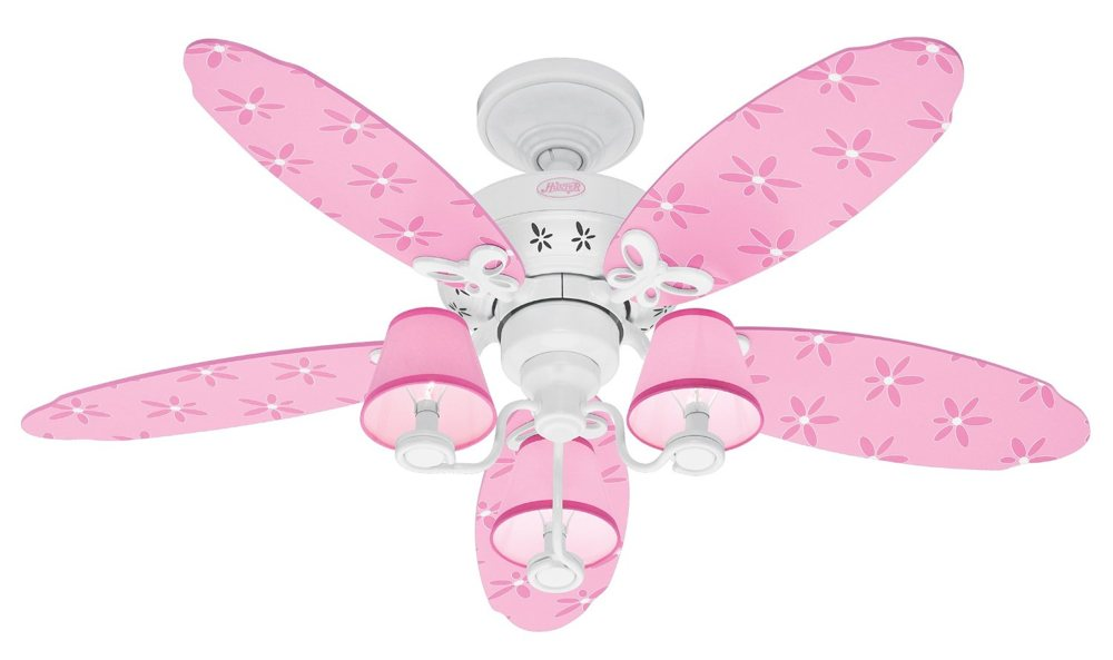Designer pink and white 44-inch, five-blade fan with flower princess theme  (view larger).