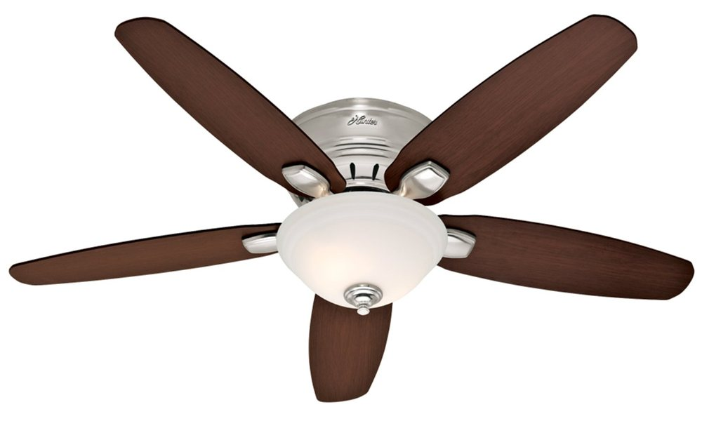 Hunter 28700 fremont 52 inch 5 blade single light ceiling fan contemporary brushed nickel finish fan with five reversible blades view larger aloadofball Image collections