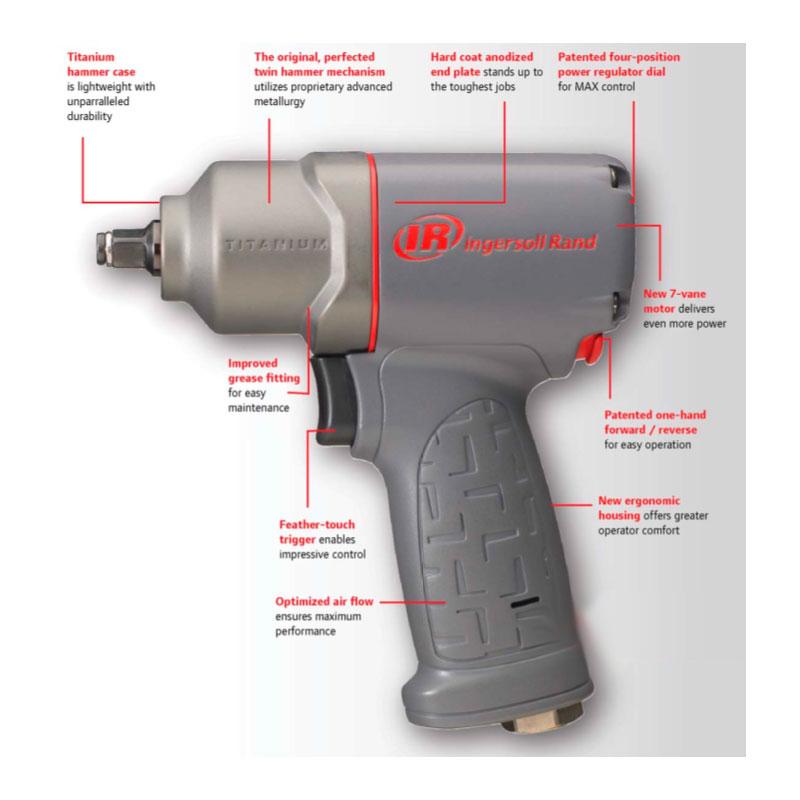 Ingersoll-Rand 2235QTiMAX 1//2 Quiet Titanium Air Impact Wrench