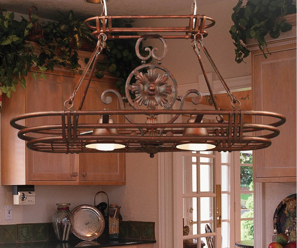 Amazoncom Kenroy Home GC Dorada Light Pot Rack Gilded - Wood kitchen light fixtures