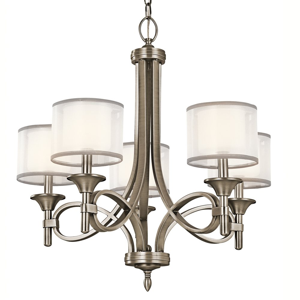 Kichler Lighting: Kichler 42381AP Lacey Chandelier 5-Light, Antique Pewter
