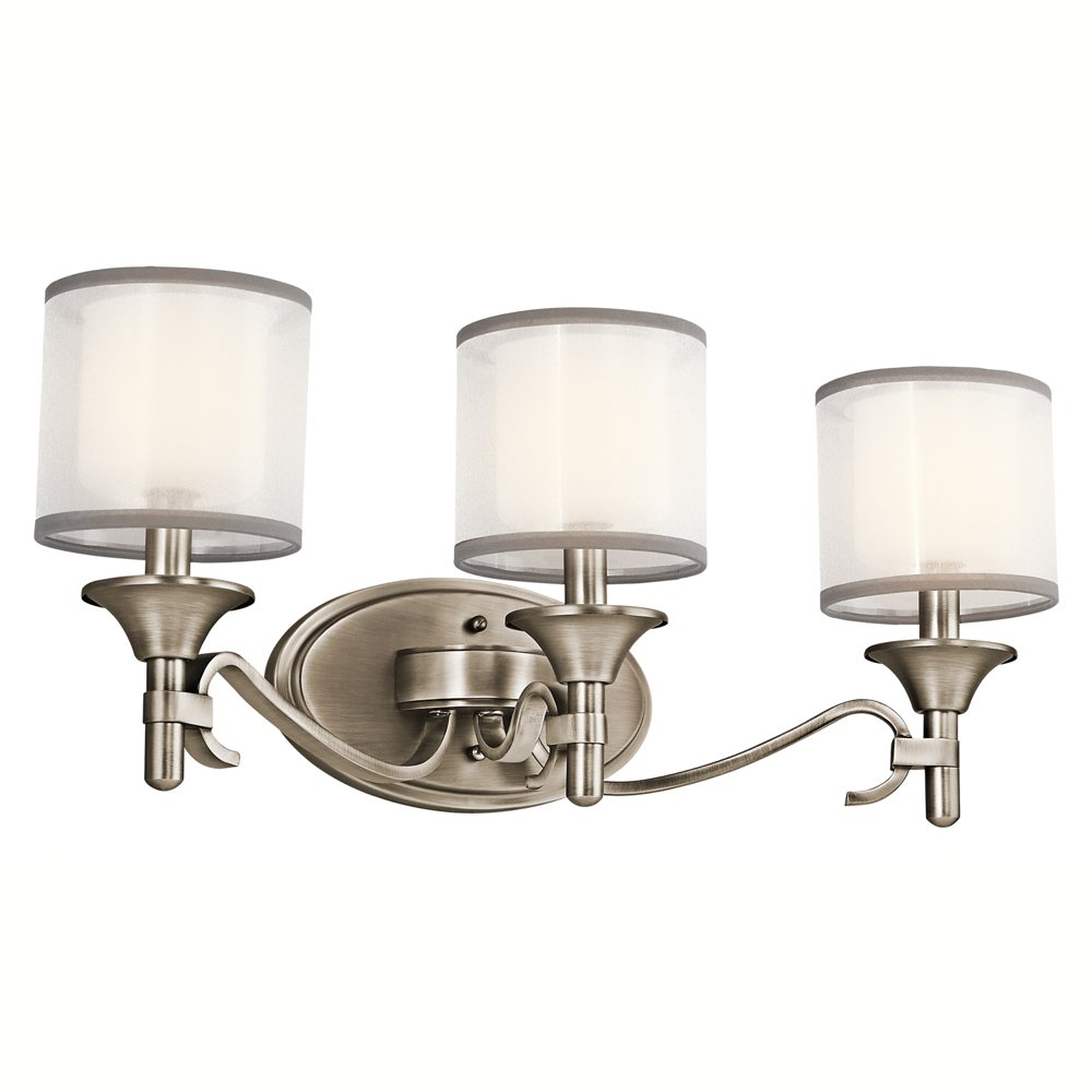 The Lacey 3 light bathroom fixture in antique pewter  view larger Kichler 45283AP Three Light Bath Vanity Lighting Fixtures