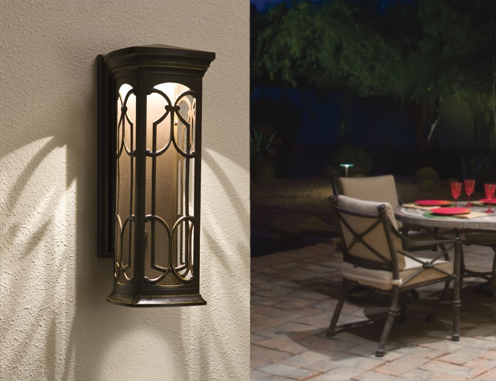 Kichler 49227ozled led outdoor wall mount wall porch - How to design outdoor lighting plan ...