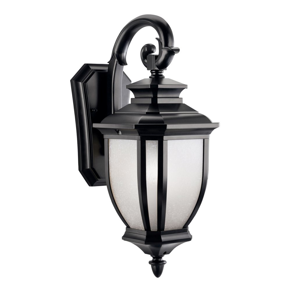 Wall Lantern Light Fixture : Kichler Lighting 9040BK Salisbury 1-Light Outdoor Wall Mount Fixture, Black with White Linen ...
