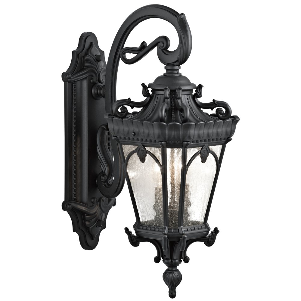 kichler lighting bkt tournai light inch outdoor wall  -  wall lantern in textured black finish (view larger)