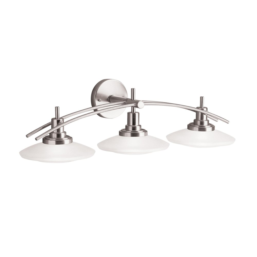 Bathroom vanity lights brushed nickel - The Structures Three Light Bath Fixture View Larger