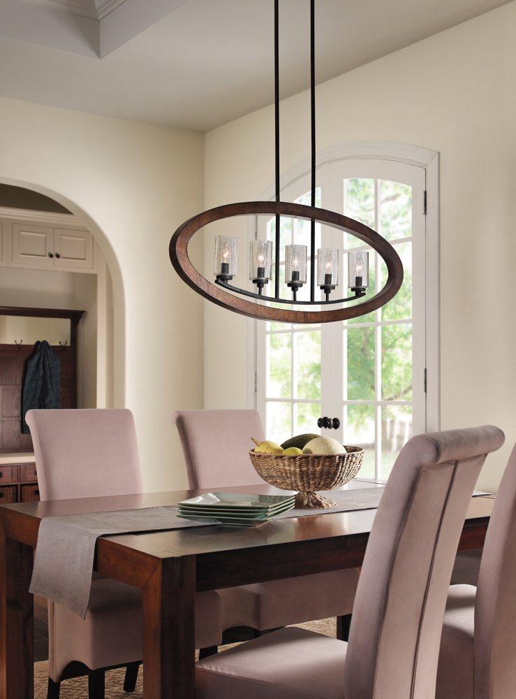 Kichler 43186aub five light linear chandelier - Kichler dining room lighting ...