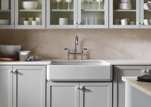 The Kohler Whitehaven apron-front single-basin sink is made of enameled  cast iron, has a self-trimming apron, and is easy to install (click each to  enlarge) ...
