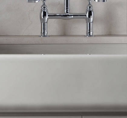 Short Apron Front Sink : ... Apron Front Single Basin Sink with Short Apron, White - Single Bowl