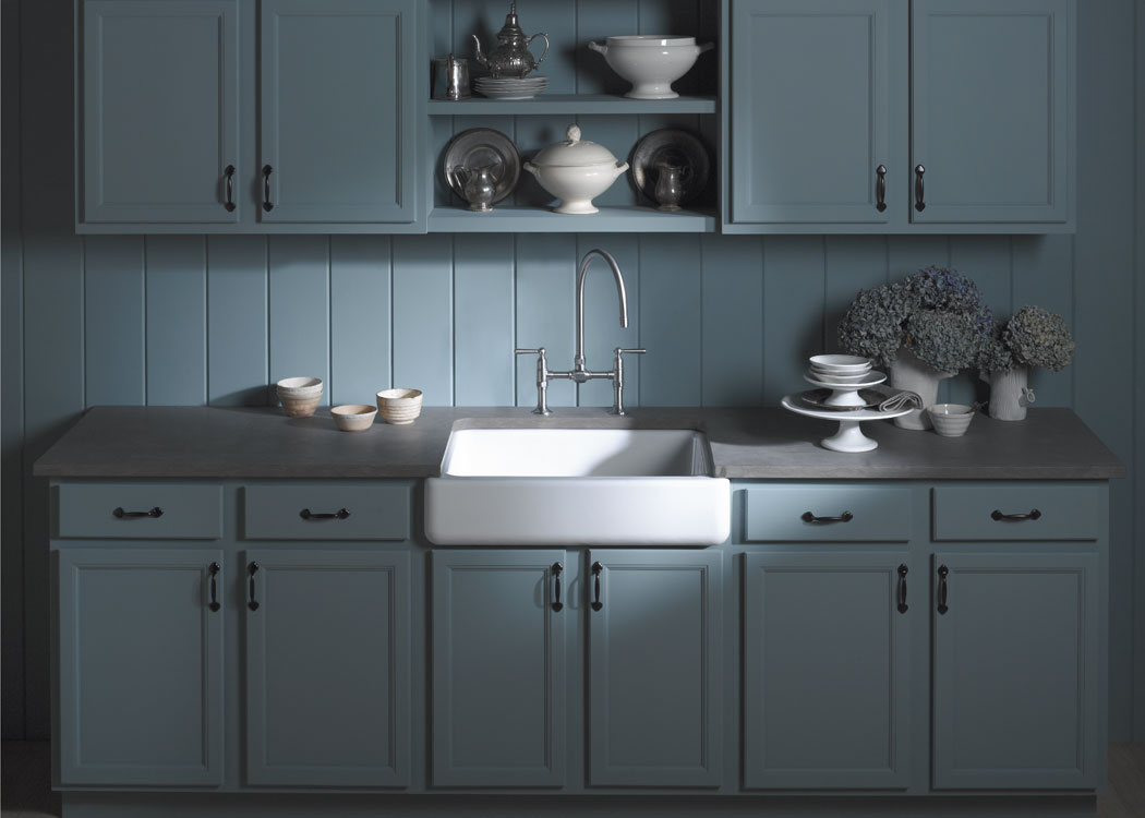 the kohler whitehaven apronfront singlebasin sink is made of enameled cast iron has a apron and is easy to install click each to enlarge