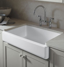 Kohler-6489-web._V166702838_ KOHLER K-6488-96 Whitehaven Farmhouse Self-Trimming Apron Front Single Basin Kitchen Sink with Short Apron, Biscuit