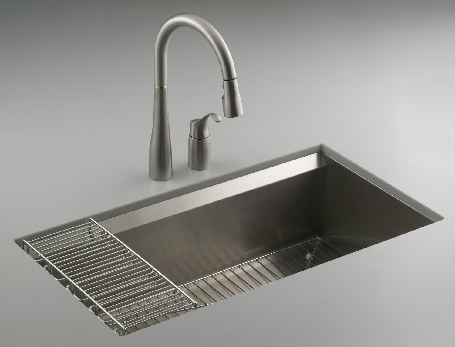 KOHLER K-3673-NA 8 Degree Large Single Kitchen Sink