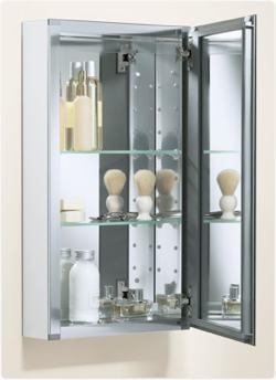 single door mirrored frameless cabinet adds stylish storage view