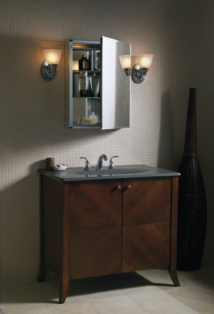 kohler bathroom cabinets medicine cabinet mirrored door anodized aluminum kohler 22362
